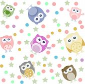 Background With Many Cute Owl, art illustration