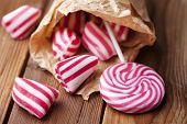 traditional striped peppermint rock candy