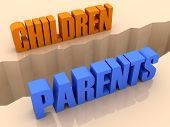 Two words CHILDREN and PARENTS split on sides separation crack.