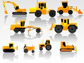 Set Of Icon Heavy Machines.