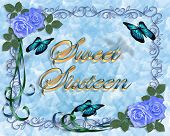 foto of sweet sixteen  - Image and illustration composition for card border stationery invitation or background for sweet sixteen birthday party with blue roses butterflies copy space - JPG