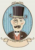 Retro Gentleman Portrait In A Top Black Hat.vector Man In Vintage Decor Frame