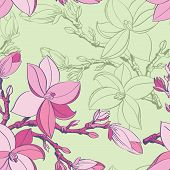 Beautiful seamless vintage wallpaper with magnolia flower