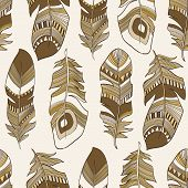 vector seamless ethnic Indian feathers