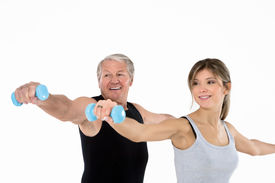 pic of fitness man body  - senior man and young woman exercising in gym - JPG