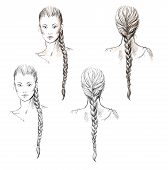 Girl with a braid, hand-drawn, vector EPS 10