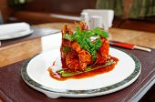 Wok fried shrimps with sweet sauce and coriander leaves, chinese food