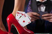 Royal Flush In Womans High Heels