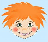 EPS10 vector illustration.   Portrait of a red-haired boy. Cartoon style.