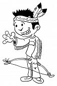 black and white cartoon illustration of a little boy dressed as indian