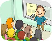 picture of waste reduction  - Illustration of a Man Delivering a Lecture on Recycling - JPG