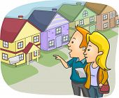 Illustration of a Couple Checking Out Prospective Homes