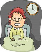 Illustration of a Man with Puffy Eye bags Sitting on His Bed Wide Awake