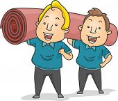 Illustration of Carpet Installers or Cleaners Carrying a Roll of Carpet