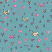 A Seamless Pattern Of Cats Footprint Prints