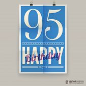 Happy birthday poster, card, ninety-five years old.
