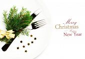Fir Tree Branch And Christmas Table Place Setting With Christmas Ornaments On White Plate  Isolated
