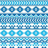 Aztec tribal seamless blue and navy pattern