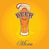 stock photo of bubble sheet  - vector glass of beer on a yellow background for the menu - JPG