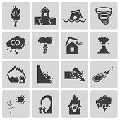 stock photo of flood-lights  - Vector black  disaster icons set on white background - JPG