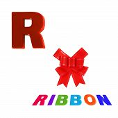 Illustrated Alphabet Letter R And Ribon On White Background.