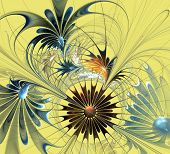 Beautiful Fractal Flower In Brown And Blue On Yellow Background. Computer Generated Graphics.