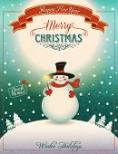 Snowman on the Hill - Christmas poster and greeting card with cheerful snowman holding Christmas can