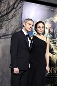 LOS ANGELES - DEC 2: Martin Freeman, Amanda Abbington at the premiere of Warner Bros' 'The Hobbit: The Desolation of Smaug' at the Dolby Theater on December 2, 2013 in Los Angeles, CA