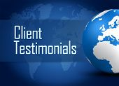 image of statements  - Client Testimonials concept with globe on blue background - JPG