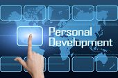 stock photo of self assessment  - Personal Development concept with interface and world map on blue background - JPG