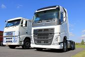 Two White Volvo Fh Trucks