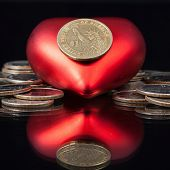 Red Heart And U.s. Dollar Coins