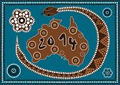 A Illustration Based On Aboriginal Style Of Dot Painting Depicting 2014 Happy New Year - Australia
