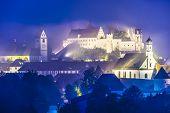 Misty night in Fussen, Germany.
