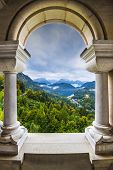 stock photo of bavarian alps  - View from Neuschwanstein Castle in the Bavarian Alps of Germany - JPG