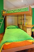 foto of bunk-bed  - Kids double bedroom interior with bunk bed - JPG