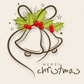 Merry Christmas celebration greeting card or invitation card with stylish jingle bells decorated by