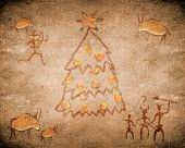 Prehistoric Cave Painting With Christmas Tree