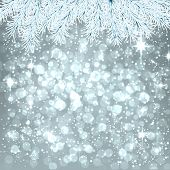 Silver winter abstract background. Christmas illustration with snowflakes and sparkles. White fir ne