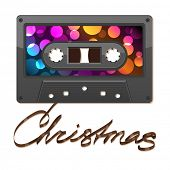 Audio cassette tape. Film written Christmas EPS10 - This illustration contains a transparency and Blending mode - Color Dodge