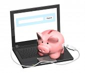 Electronic bank account. Piggy bank and laptop. Objects isolated on white background