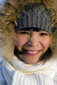 stock photo of chukotka  - A portrait of young beautiful chukchi woman