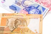 Close Up Of 20 50 100 South African Currency