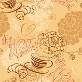 Love Concept - Seamless Pattern With Cup Of Coffee, Croissant, Flowers And Calligraphic Text Be My V