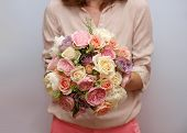 Sweet pale rose purple ivory wedding bouquet