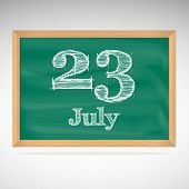 July 23, day calendar, school board, date