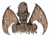 cartoon illustration of evil demon with wings