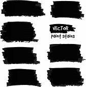 Black paint spots vector set