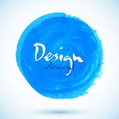 Bright blue watercolor vector circle