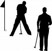 Vetor de silhueta de jogador de golfe
